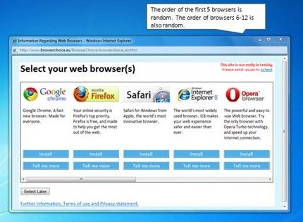 The old Windows browser choice screen on desktop, with from left to right Chrome, Firefox, Safari, IE, and Opera. A popout box says 'The order of the first 5 browsers is random. The order of browsers 6-12 is also random.'