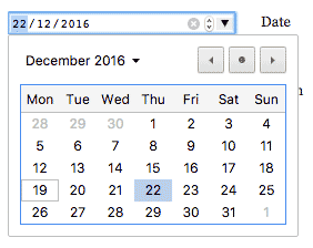 A datepicker in Chrome desktop