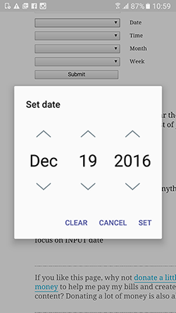 A datepicker in Samsung Internet